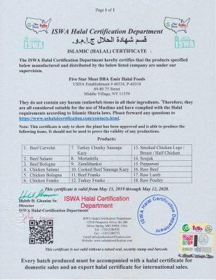 Halal Certificate 2020
